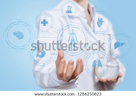 A laboratorian assistant holding a transparent flask with liquid substance is showing a medical science development structure. The concept of medicine and innovative technology cooperation. #1286250823