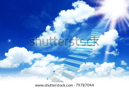 a ladder directed up to blue cloudy skies and sun - stock photo