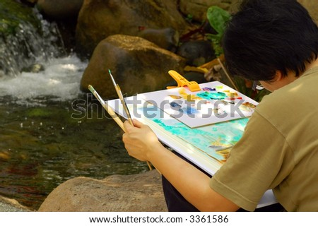 A lady artist at work