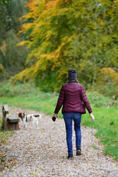 A lady walks her dog in the Autumnal scenery