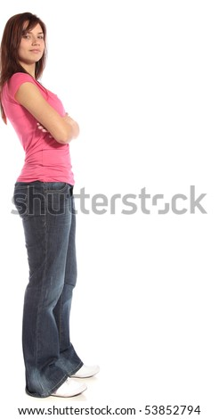 A laid-back young woman leaning to a wall. All on white background.