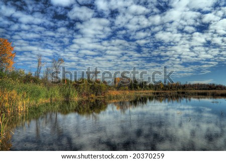 A lake in Autumn. HDR image created by combining three different exposures.