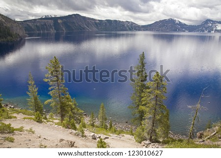 A lake side view of crater lake