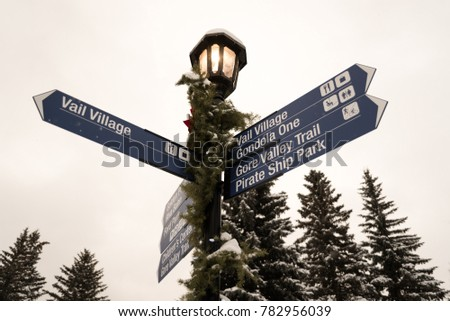 A lamp post sign in Vail, Colorado.