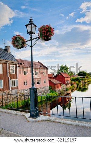 A lamppost over the water in Arboga, Sweden