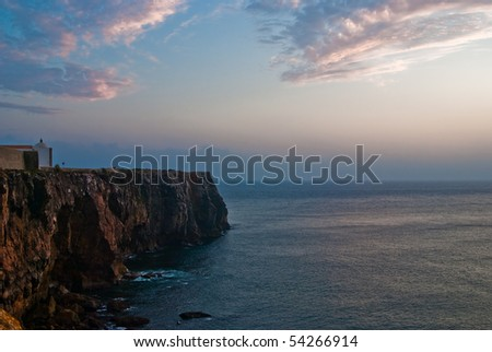 A landscape at Sagres fortress during sunset
