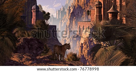 A landscape in India of a mountainous canyon with gothic castles, date palms and a Bengal tiger.