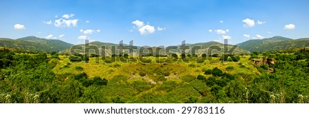 A landscape in sunny day.Panorama photo.