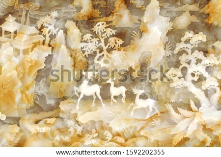 A landscape of pearl designing with three deer stand on a big stone for wall, TV backdrop, or receptionist backdrop decoration. 3D rendering