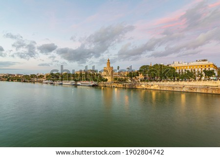 A landscape photo of the Torre del Oro in Seville next to the Guadalquivir River. Foto stock ©