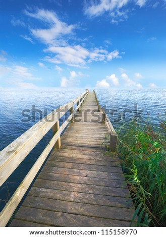 A landscape pier and lake
