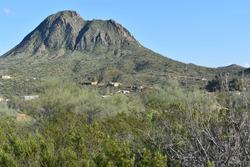 A landscape view of Gavilan Peak volcano in Spring in New River, Arizona