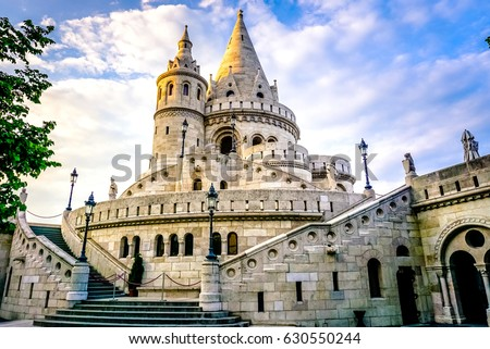 A landscape view of the fisherman's bastion in summer time. a popular attraction in Budapest, Hungary. Stock photo ©