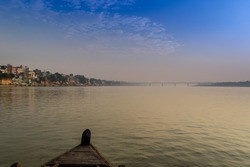 A landscape view of Varanasi Ghat from River Ganges at early in the morning.