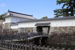 A landscape with a Japanese castle turret