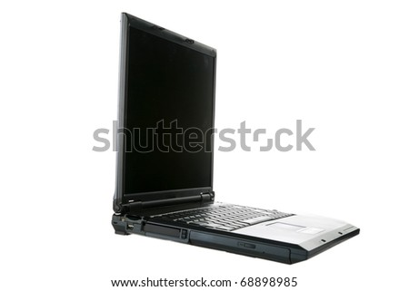 a laptop computer with its carrying case with room for your text isolated on white  text is easily removed and replaced with your own