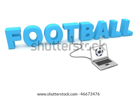 stock photo a laptop is connected to the blue word football watching football or soccer online a fancy 46673476