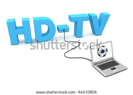 a laptop is connected to the blue word HD-TV - watching football or soccer online - a fancy football on the screen