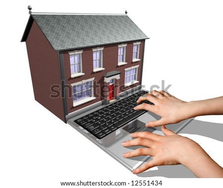 A laptop merged into a house representing the buying of a new home on the Internet.