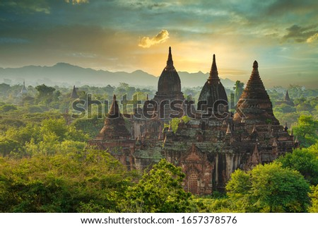 A large ancient pagoda which is Burmese architecture in the World Heritage Site in the morning of Bagan, Myanmar. Сток-фото ©