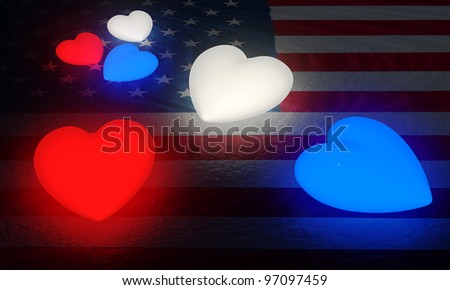 A large and a small set of red, white, and blue glowing hearts on a structured American flag.Great for 4th of July celebration.