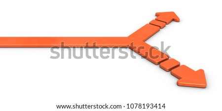 A large arrow separating left and right. It is an abstract that represents choices. 3D illustration