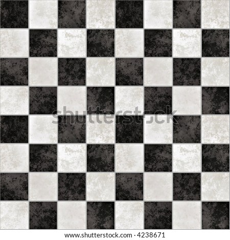 a large background of black and white marble tiles like a chessboard