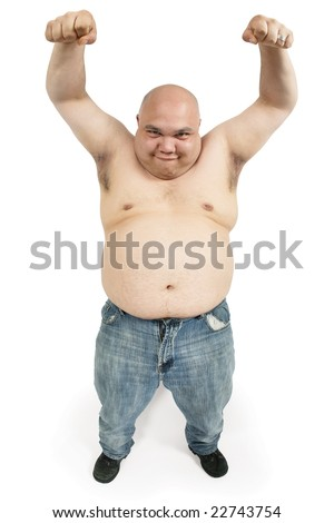 A large bald man with his hands up in the air making an odd face. - stock photo