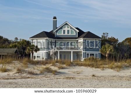 A large beach house on the Atlantic shore.