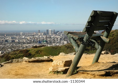 A Large Bench In Runyon Canyon Overlooks Los Angeles Stock Photo