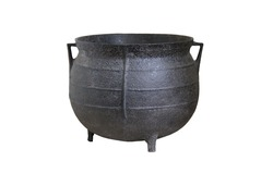 A Large Black Iron Traditional Cooking Cauldron.