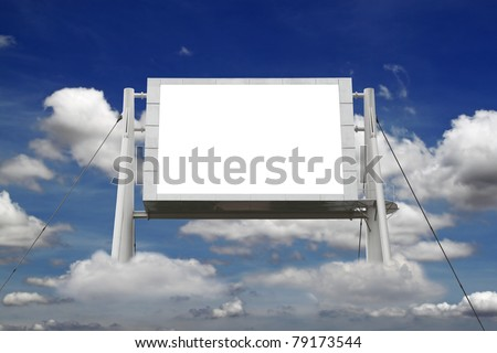 A large blank electronic advertisement board floating on some clouds in a blue cloudy summer sky, with copy space for text.
