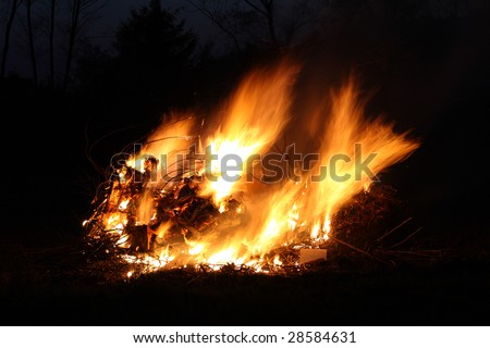 A large bonfire during Easter time