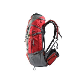 A large-capacity long-distance backpack in a pure white background