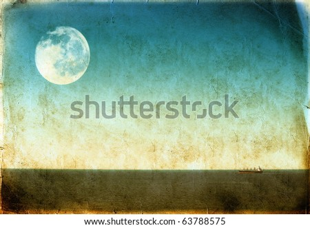 A large cargo ship at sea, vintage background