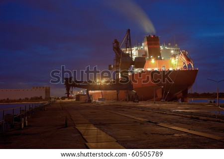 A large cargo ship at the port wharf.