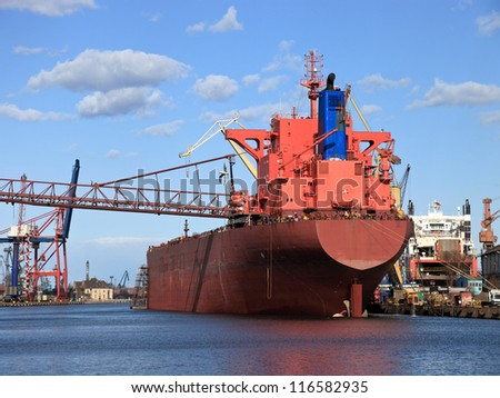 A large cargo ship in the shipyard in Gdansk, Poland