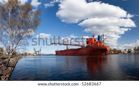 A large cargo ship in the shipyard in Gdansk, Poland.