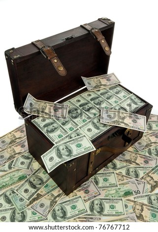 A large chest with dollar bills. Financial crisis, crisis, debt.