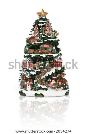 A large Christmas tree with many decorations