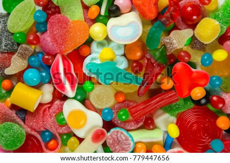 a large collection of sweets and candy