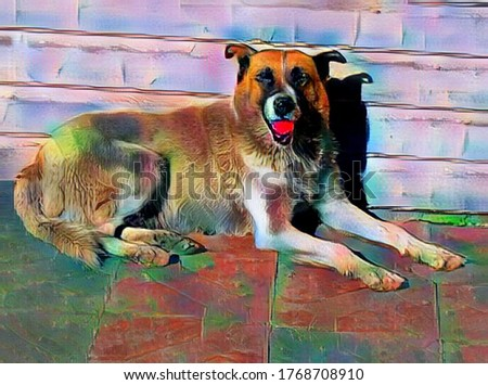 A large cute dog is lying near the wall in the style of painting Fauvism