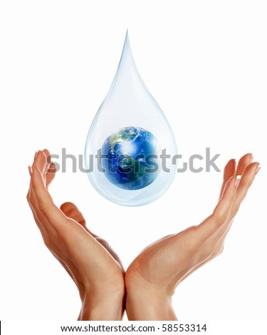 A large drop of water with Earth inside and hands to support it. The symbol of environmental protection.