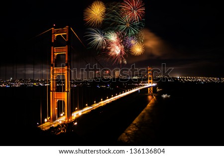 A large firework show in the background of Golden Gate Bridge in San Francisco