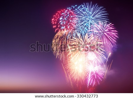 A large fireworks event with celebrations. #330432773