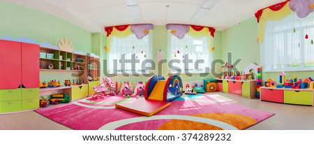 A large game room in the kindergarten.