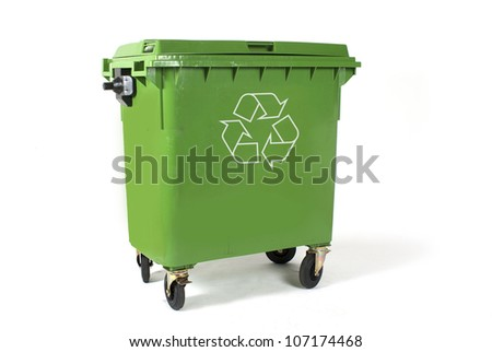 A large green recycling bin