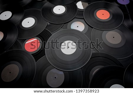 a large group of black gramophone records #1397358923