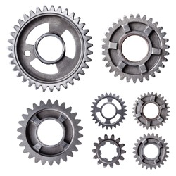 A large group of individual metal gears isolated on a white background.