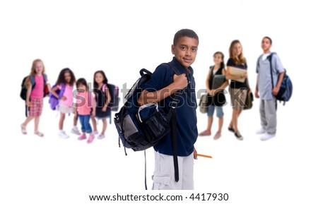 A large group of kids ready for school. Diversity